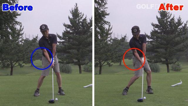 画像: POINT2 インパクトでは右腰を しっかり押し込もう