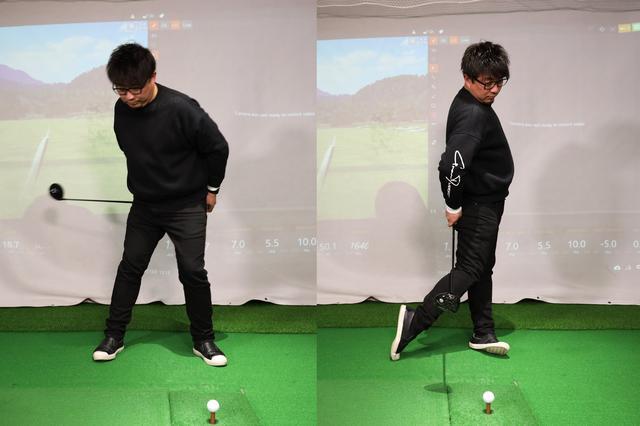 画像: 正しいハンドファーストでインパクトする感覚をつかむための練習法。グリップをお尻にくっつけたままスウィングの動きをすることで正しい下半身の使い方が身に付く