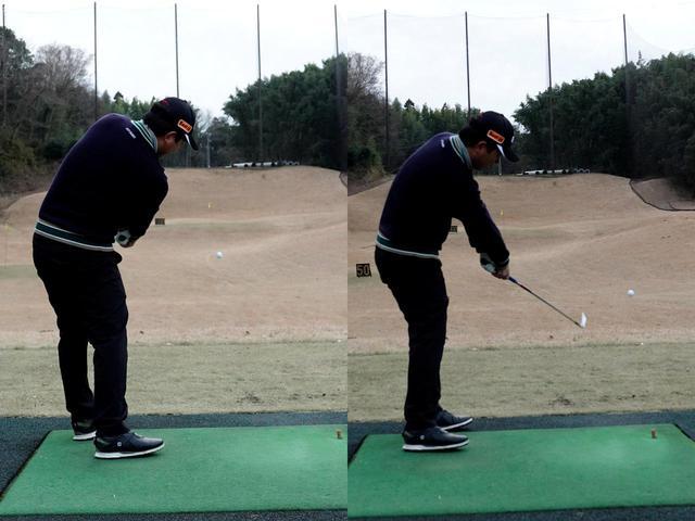 画像: 大袈裟にドロー(右)やフェード(左)といった曲げる球を交互に打つことで、フェースの使い方が身に付くと岩男