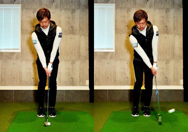 画像: 画像A:スタンスを狭め、シャフトはほぼ垂直。肩の動きでストロークしよう。8番、9番アイアンを使うのもアリ
