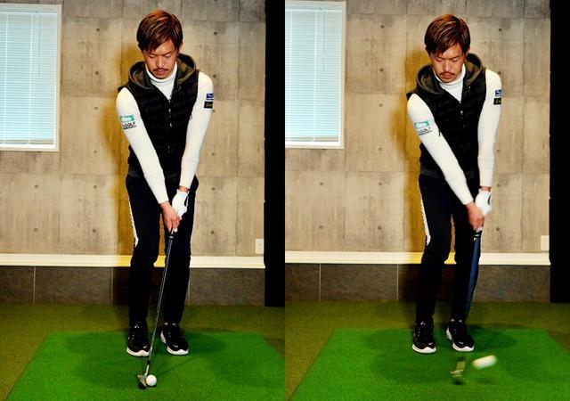 画像: (画像B)ライが悪い際はハンドファーストに構えるのがポイント。頭とボールの位置関係も変化する。