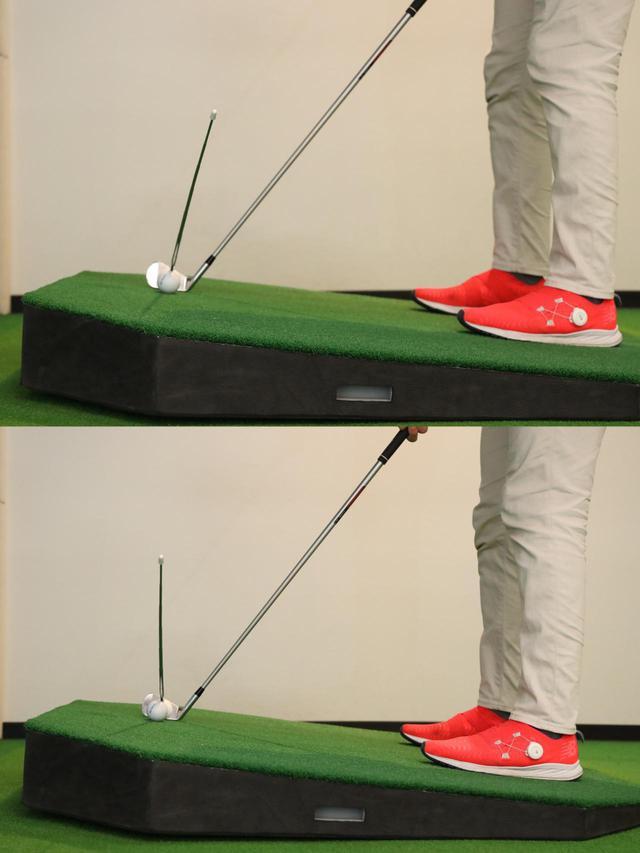 画像: 目標方向に真っすぐ構える(上)のと少し右を向いて構えた(下)写真を比べてみると、ボールの打ち出しが異なるのがわかる
