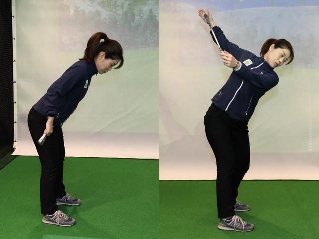 画像: 股関節を屈曲することで胸椎を回す準備が整う
