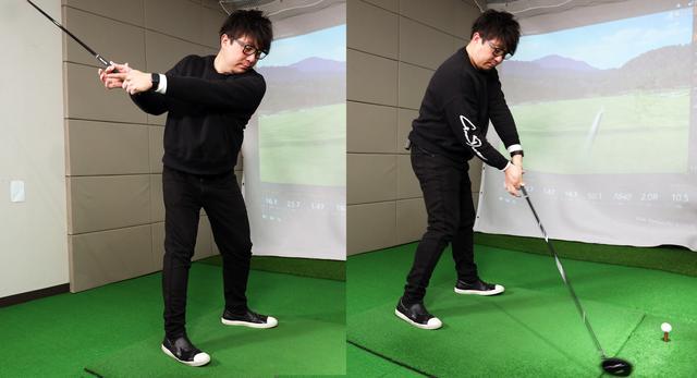 画像: ダウンスウィングで左手の甲が上を向いてフェースが開く人におすすめの練習法。左手の3本指と右手の2本指だけで握りフェースを閉じながらダウンスウィングする