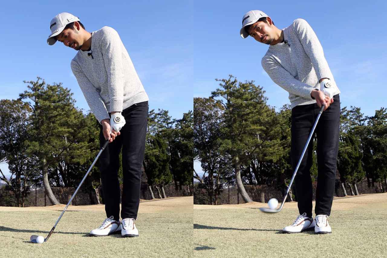 画像: インサイドアウト軌道でドロー回転をかけるアプローチだと、フェースにボールが乗る感覚がより分かりやすいと伊澤は言う