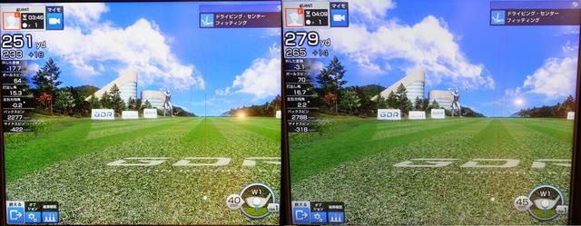 画像: 画像A:ヘッドスピード42m/s程度で40グラム台のSシャフトを打ったデータ(左)とヘッドスピード46m/s程度で50グラム台のXシャフトを打ったデータ(右)