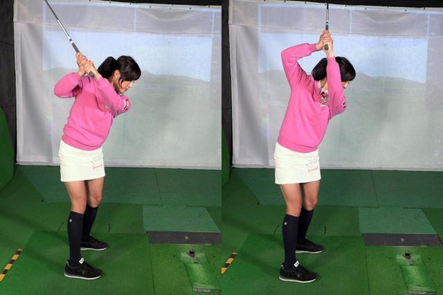 画像: バックスウィングが正しくできていても(左)、切り返しで右手に力が入るとクラブが垂直方向へ動いてしまいシャフトクロスが起こってしまう(右)と小澤