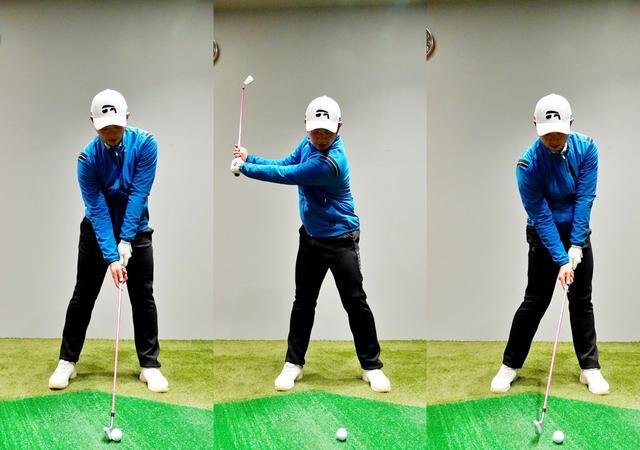 画像: 画像B 正しいアドレスは右肩は左肩よりやや下がる(左)、体の軸は傾かずにバランスの取れたトップ(中)からボールよりも頭は右に