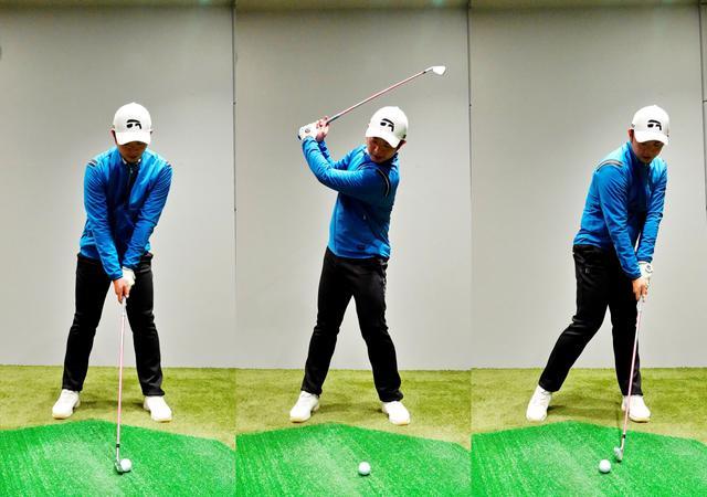 画像: 画像A 左右の肩のラインが平行で右肩、右腕が前に出た状態(左)から始動するとトップでは左肩が下がり、体の軸が左に傾いてしまう(中)、その結果インパクトでは頭は左に突っ込み、アウトサイドインのカット軌道になってしまう(右)
