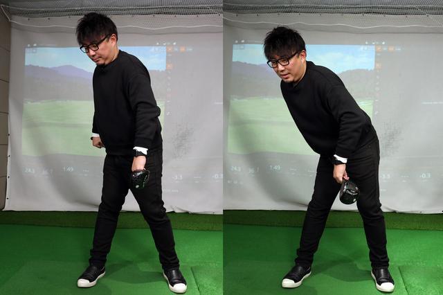 """画像: """"おじぎ""""の動きを習得するための練習法。左足の付け根でシャフトを挟み込む動作を繰り返すことで上体を深く倒すイメージがつく"""