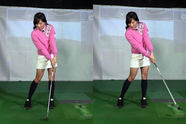 画像: インパクトまでは手首のコックをキープし(左)、インパクト後にリリースしていくのが良い手打ちの動きだと小澤