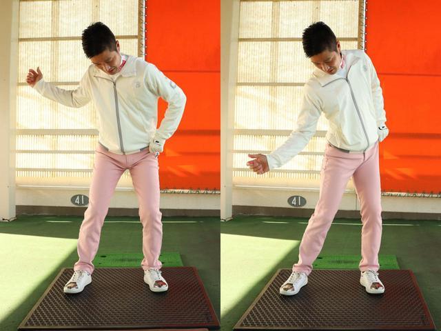 画像: 左足リードは左ポケットをお尻側に引っ張られるようなイメージ