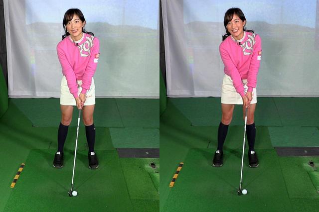 画像: ボールを1~2個左に置いて(写真右)スウィングすることで、手首のコックが解けるタイミングが早すぎるとミスショットになりやすく、自分が正しいスウィングができているかが判別しやすいと小澤