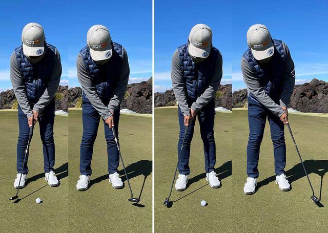 画像: アマチュアはストローク中に手首をひねってフェースを開閉していることが多い(左)。手のひらとフェース面を合わせると開閉が少なくなり、安定したストロークになる(右)