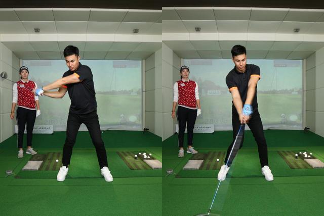 画像: 体を左に突っ込ませずに、左肩の位置を中心に回るイメージでダウンスウィングするのが良いと高島
