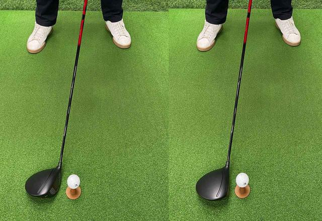 画像: (左)ボール位置を右にするだけだとフェースが開いてしまいます。(右)フェースがかぶるように握り直して構えましょう