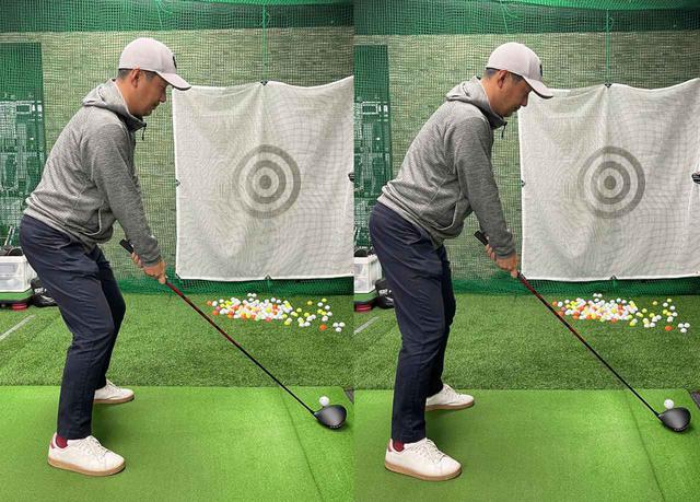 画像: (左)膝を曲げて重心を下げるのではなく、(右)骨盤を前に倒すようなイメージで重心を下げて構えましょう