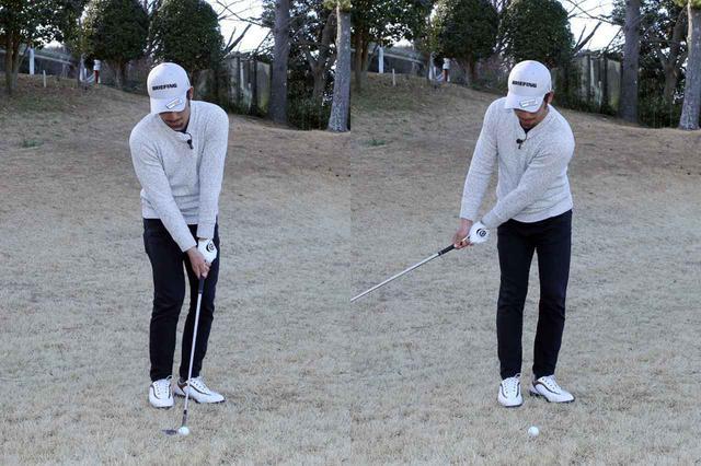 画像: アドレスのハンドファーストの形(左)がバックスウィングではハンドレートの形になるよう振っていこう(右)