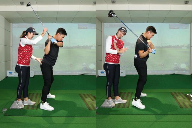 画像: 右ひじを体に近づけた状態でダウンスウィングに入ると(左)、ボールにヒットするために右腰を前に出す動きが入り体が起き上がってしまう(右)。これもフェースが開く原因だと高島