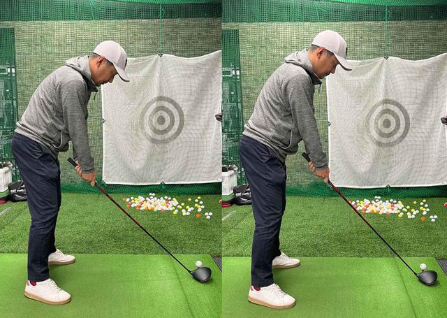 画像: (左)いつもの構え方だと少しグリップの位置が低い。(右)ハンドアップに構えて腕と体の一体感を出しましょう