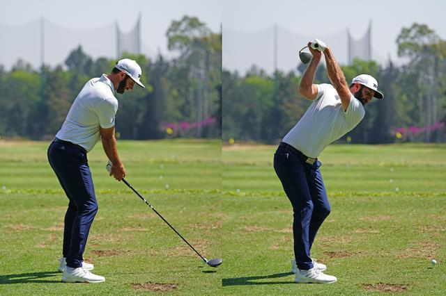 画像: ダスティン・ジョンソンのドライバーショットのアドレス(左)とトップ(右)。アドレスでは右手を極端にストロングで握り、トップではフェース面が真上を向いている(写真は2020年のWGCメキシコ選手権 撮影/姉崎正)