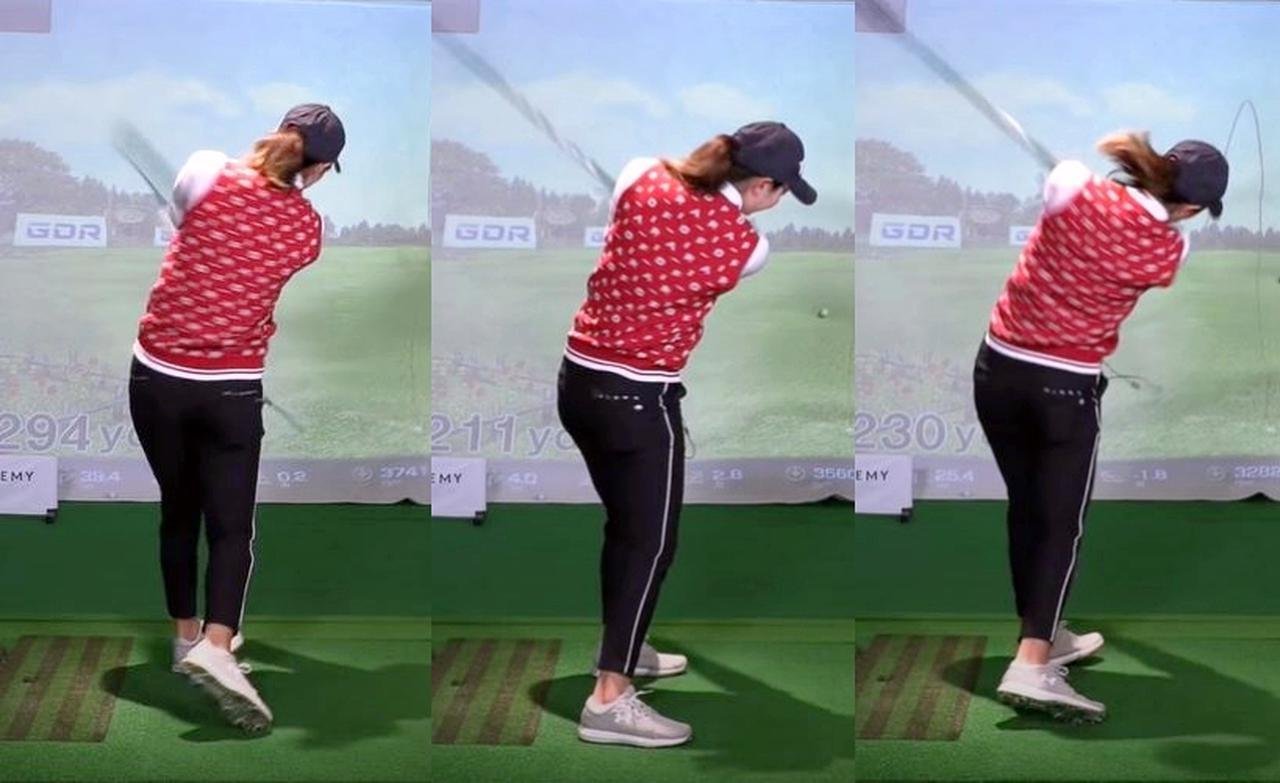 画像: 高島の実演では体をフル回転させたスウィング(左)では221ヤード、体を動かさず腕だけで振ると(中)230ヤード。そして体を回しつつダウンスウィングで体の動きを抑えるように振った写真右では、ヘッドが走った結果278ヤードという結果に