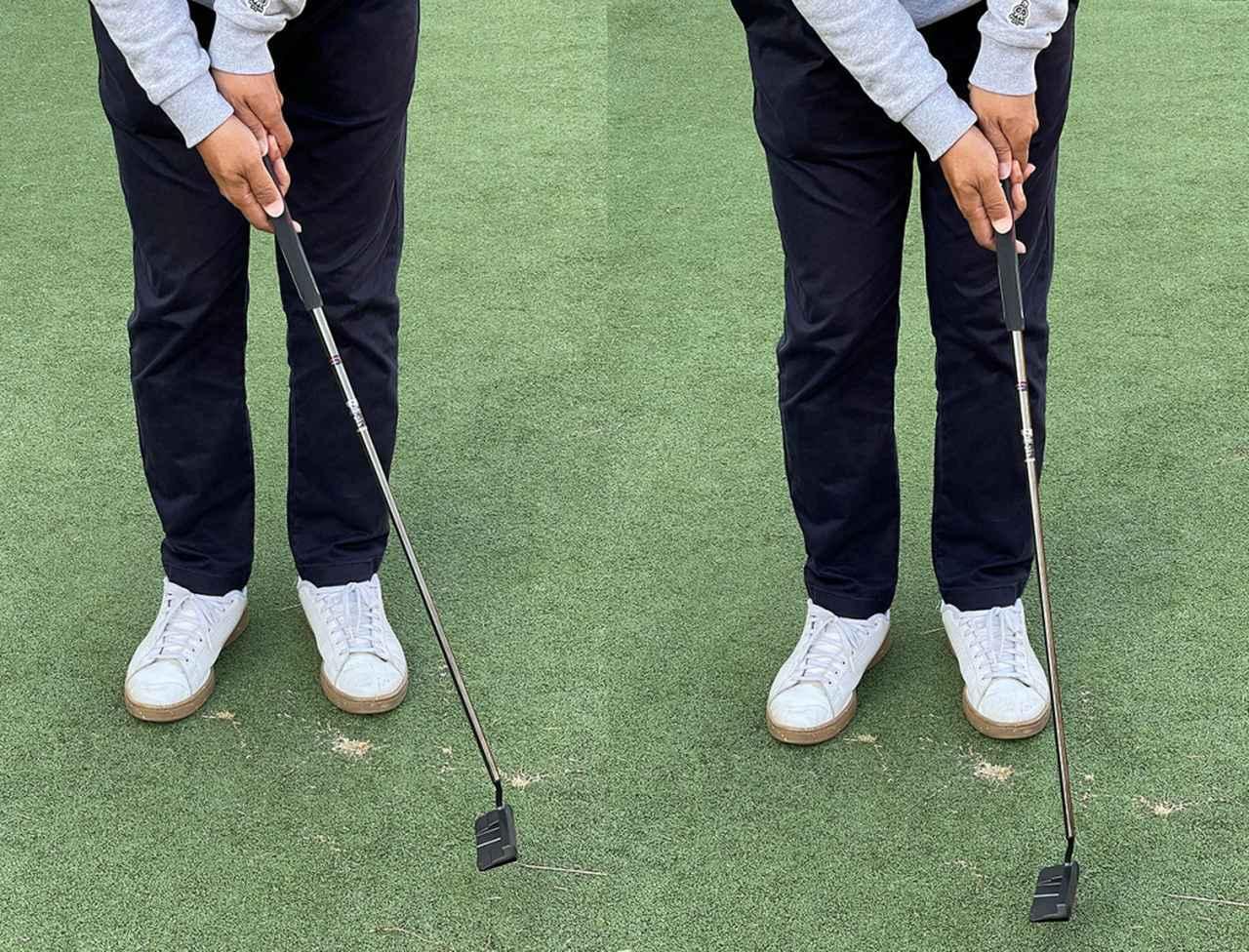 画像: (左)手首を曲げてしまうとヘッドが目標方向に出てしまう。(右)手首を固定して左肩主導のストロークだと安定する