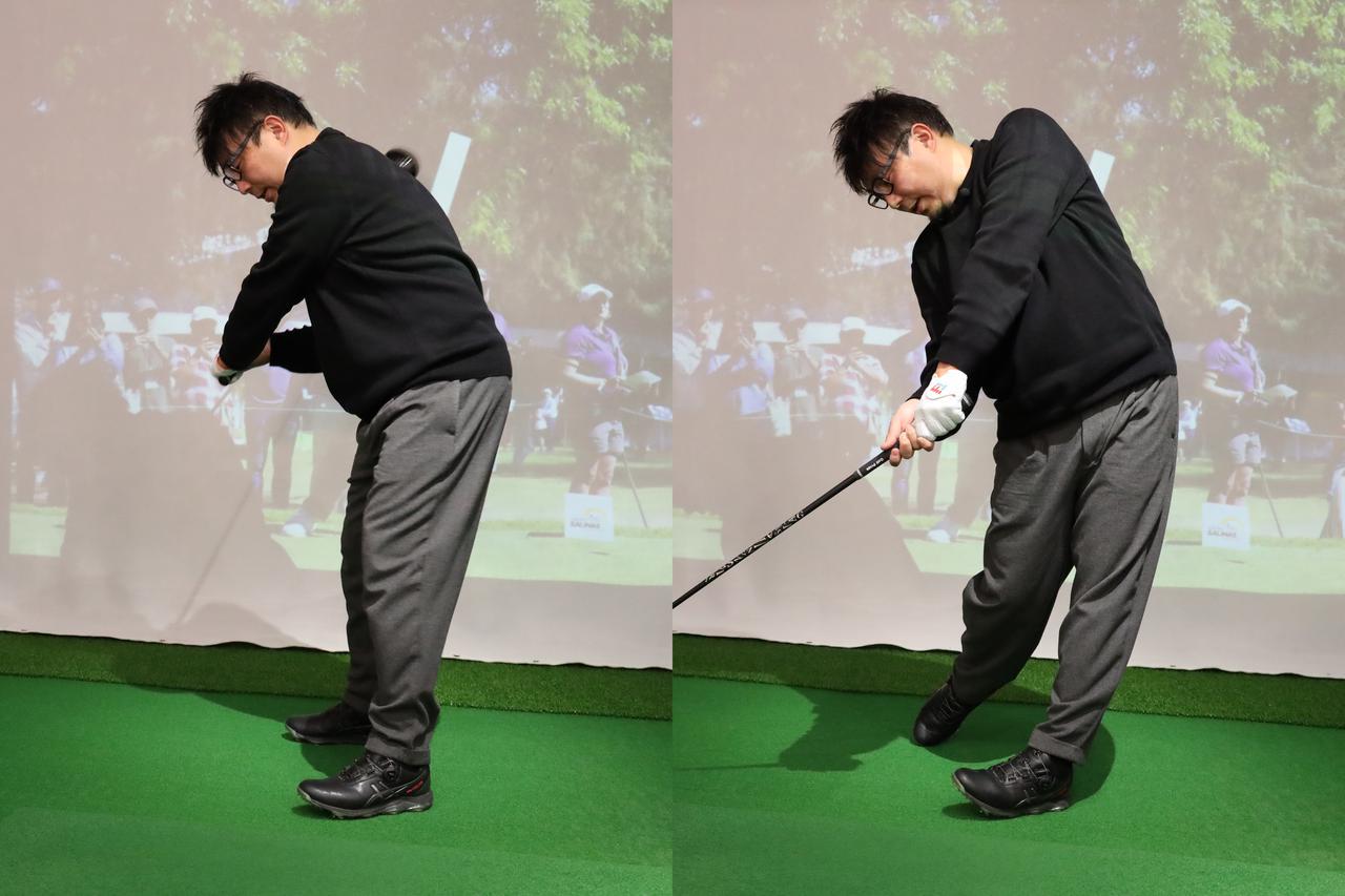 画像: 吉田プロが推奨する練習法。インパクト前に左足つま先を上げて素振りをする。感覚がつかめたらフォローで左足つま先を目標に向ける動きも足してみよう