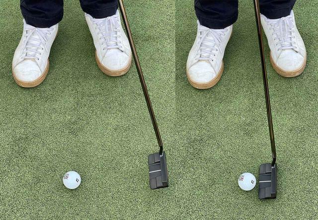 画像: 左のようにボールがあった位置よりも大きくフォローを出してしまうとインパクトで緩んでしまう。右のようにボール1個分くらいの小さなフォローにしたほうが安定する