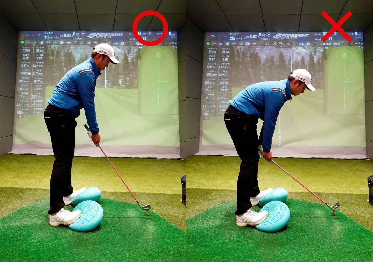 画像: 画像A アドレスでは、クラブを短く持ち手元を上げたハンドアップで構えることで、ダフリを防ぎフェースが左を向かずにターゲット方向に向けられる