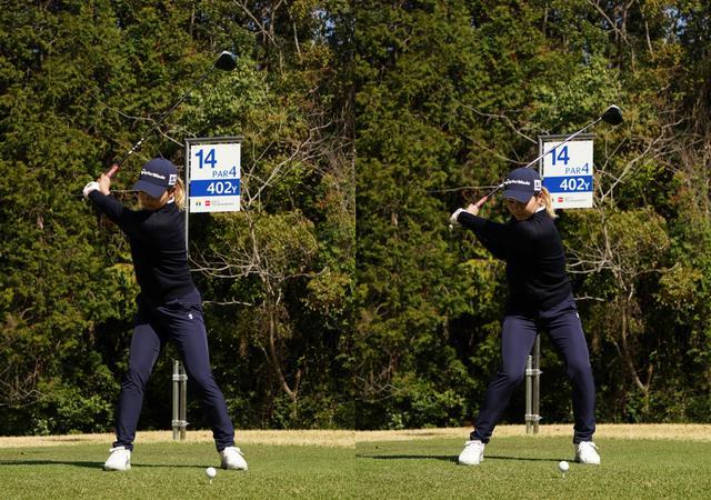 画像: 画像A テークバックの早い段階で十分な体の捻転を作る(左)ことで切り返しの間が生まれ下半身と上半身の捻転差を生む(右)(写真は2021年Tポイント×エネオスゴルフトーナメント 写真/大澤進二)