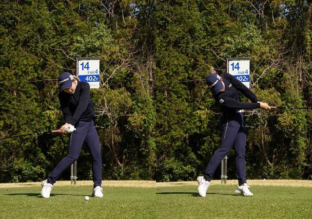 画像: 画像B クラブが地面と平行の位置でおヘソはターゲットを向き肩のラインはターゲットと平行を保つ(左)ことで体幹を使った捻転差で飛距離と安定性を両立させている(写真は2021年Tポイント×エネオスゴルフトーナメント 写真/大澤進二)