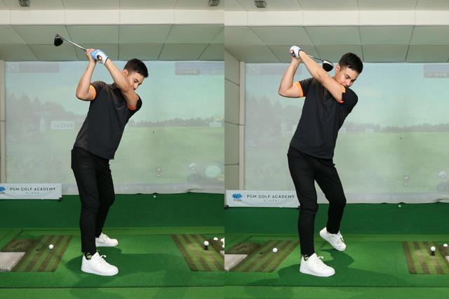 画像: 左足をヒールアップするとバックスウィング時の捻転がさらに深まり、飛距離アップにつながる
