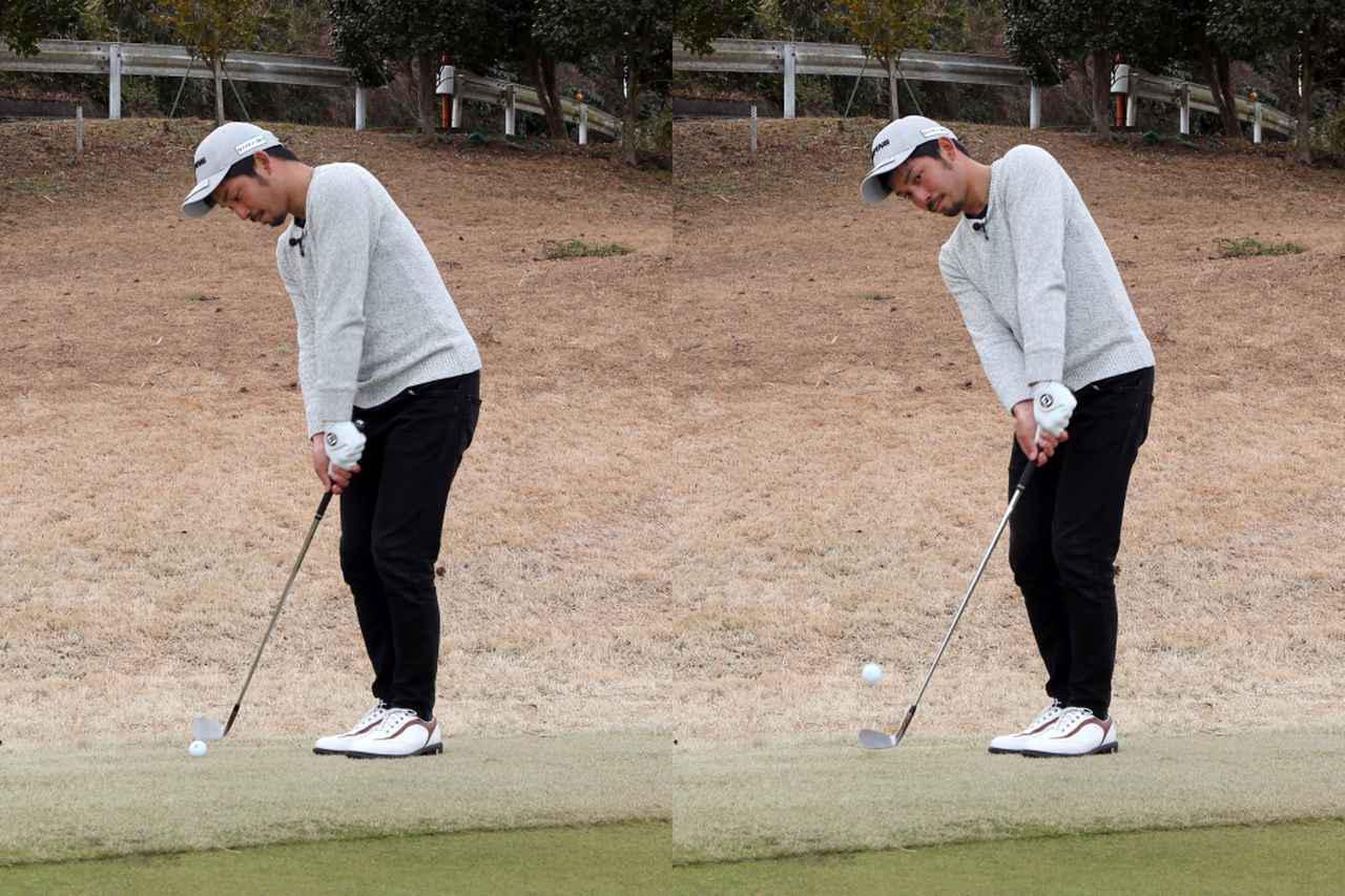 画像: インパクトで目線を外すことで体が回りやすくなり、ボールに当てに行く動きも起きにくいと伊澤