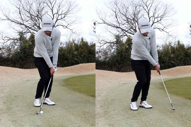 画像: 左足上がりのグリーンエッジからのアプローチでは上から打ち込むのではなく、傾斜に沿って下から上に打っていくのが正解