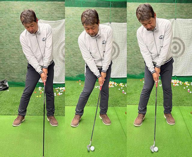 画像: (左)ドライバーのインパクト時は手元が左ももの前でほんの少しハンドファーストになる。(中)アイアンだと手元はドライバーと同じで、ボールが右にある分ハンドファーストに。(右)アマチュアの多くはボールを上げようとしてすくい打ちになりシャフトの傾きが少なくなる