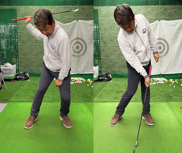 画像: トップから左膝を曲げて踏み込み、インパクトでは左膝を伸ばして左尻を上げるようにする