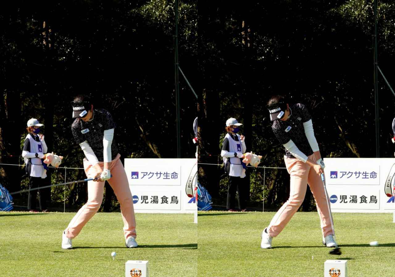 画像: 画像C  手元がアドレスの位置に戻ってもタメがほどけず(左)ハンドファーストで球を押せるインパクト(右)で飛距離と方向性を両立する(右)
