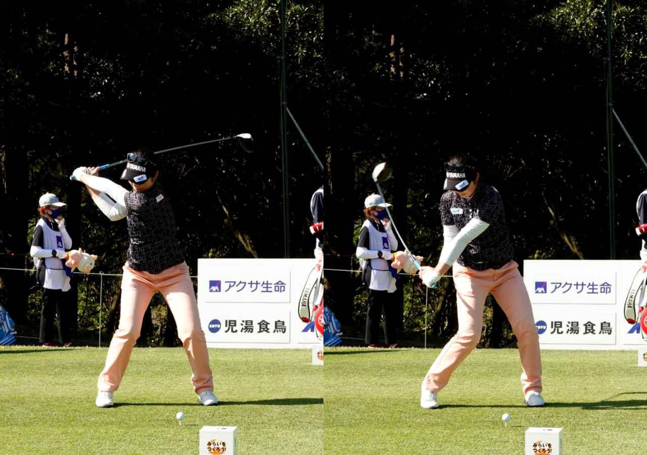 画像: 画像B 切り返えすと捻転差は大きくなり(左)、手元が低い位置に下りてくる(右)