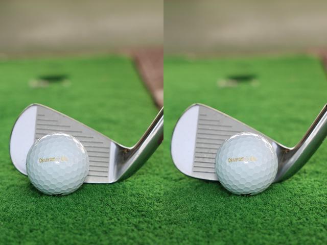 画像: ドローを打つときはトウ側(左)、フェードを打つときはヒール側にボールセットして構えよう