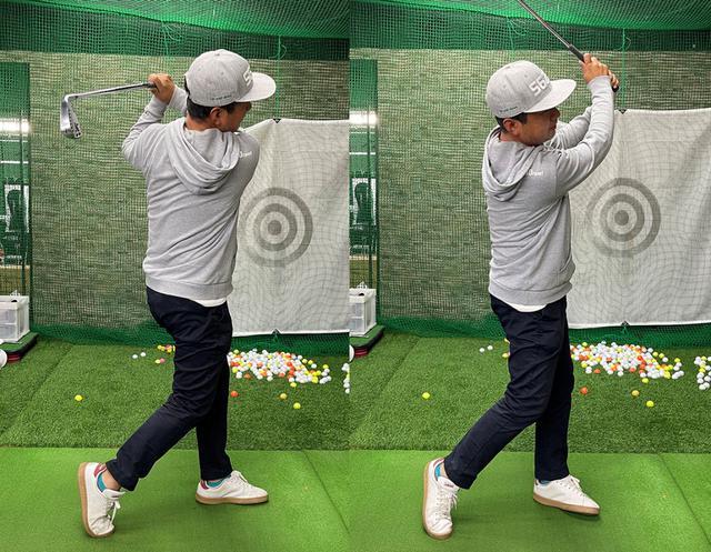 画像: (左)アマチュアはどうしてもアイアンでも飛ばそうとフルスイングしてしまいます。(右)アイアンは狙った距離を打つためにスリークォーターくらいで打つのがいいと小田プロは言っています