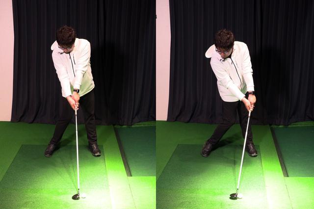 画像: 間違ったインパクト(左)と正しいインパクト(右)。インパクトでもソールの前方だけを地面に接触させるイメージを持つのがコツ