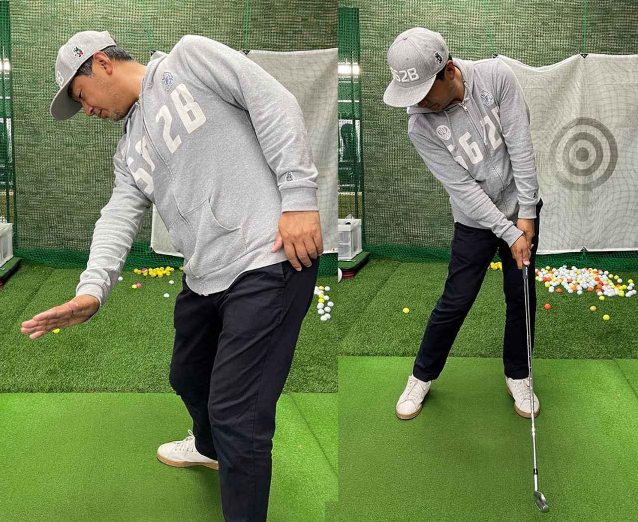 画像: 右手を下に向けるようなイメージで、ロフトを立てながら打っていく。体の正面で打つようにするとボールが捕まって飛距離が出る