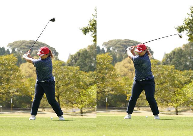 画像: 画像B:左ひざをターゲット方向に戻す動きでダウンスウィングへと移行していく