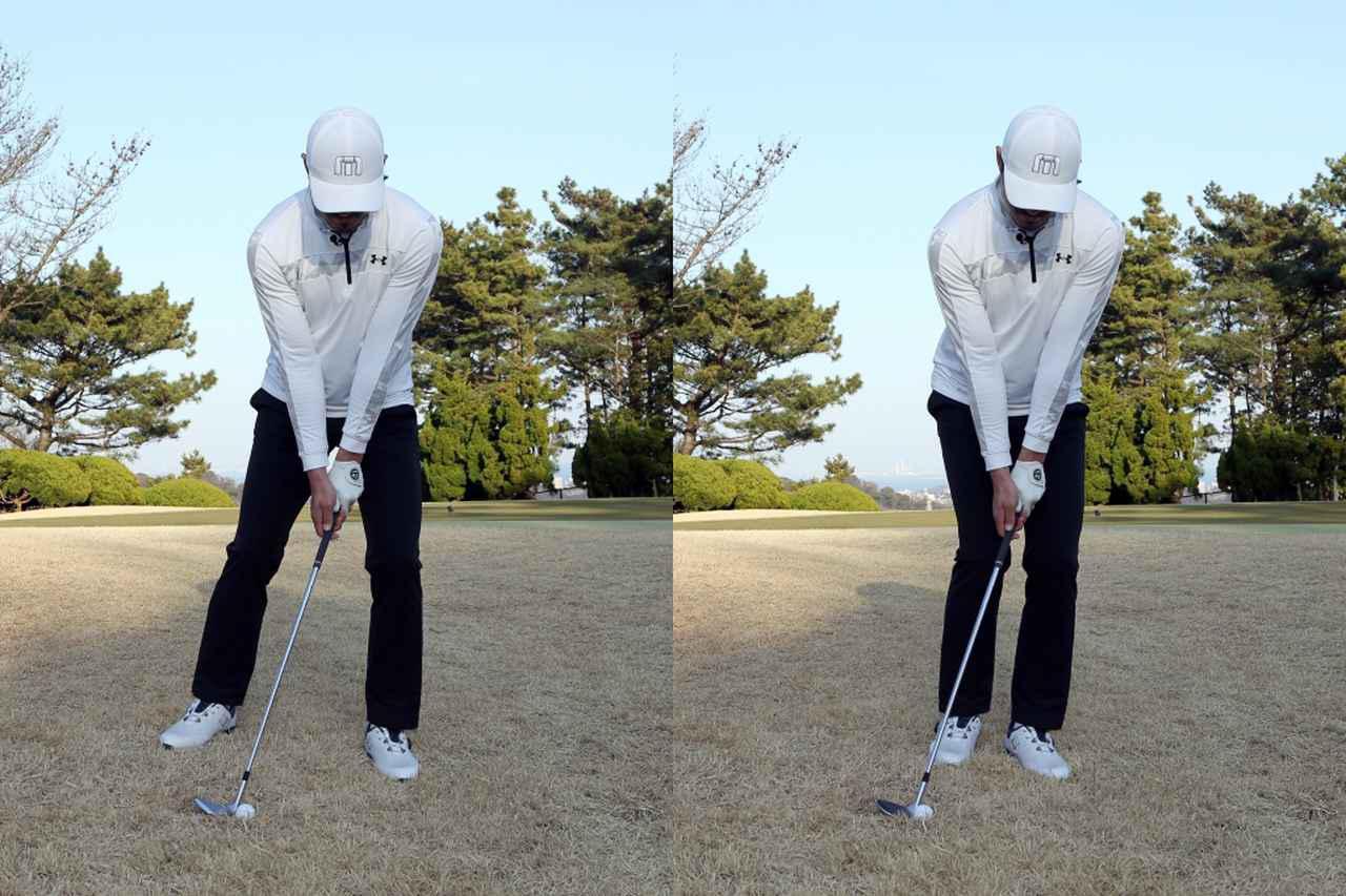 画像: 左足下がりではスタンスが広い(左)と体を回しづらく、ボールの手前を叩いてダフリの危険がある。スタンスを狭める(右)ことで体を回しやすくなり、しっかりとボールにコンタクトできるという