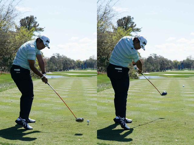 画像: フォロースルーで右肩が下がりすぎないようにすることでボールをつかまえながらコントロールしていたと石井は分析する