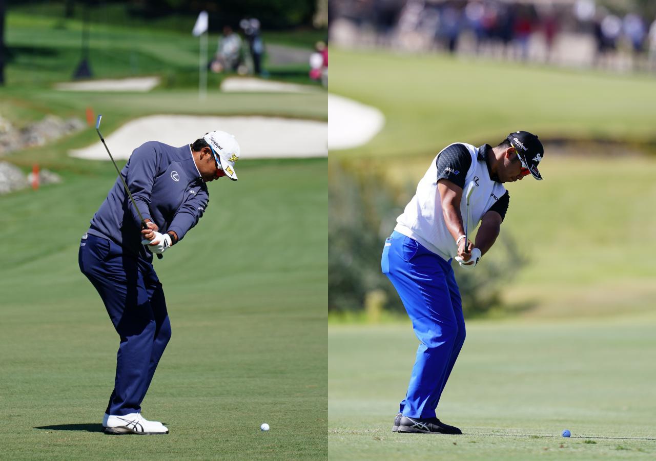 画像: シャフトが右前腕と重なる2021年3月(左)に対し、2019年10月はヘッドは胸の前にある(撮影:姉崎正)