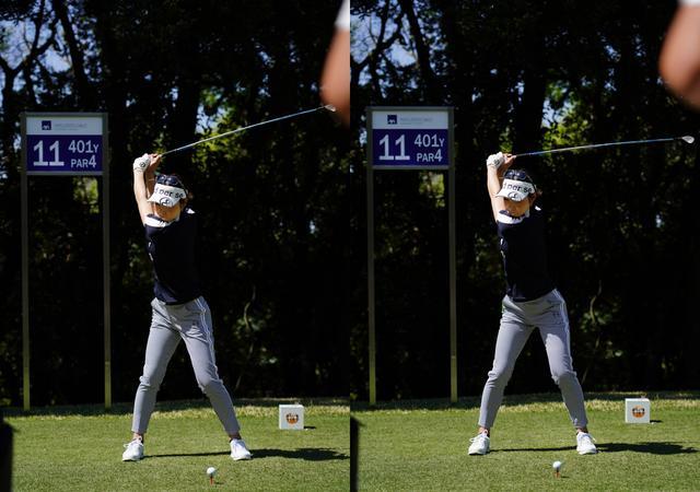 画像: 画像B 画像左の早い段階で下半身はトップの形を作りクラブがトップの位置に上がるときには画像右の下半身はダウンスウィングに入ることで捻転差を作る(写真は2021年のアクサレディスゴルフトーナメント 写真/有原裕晶)