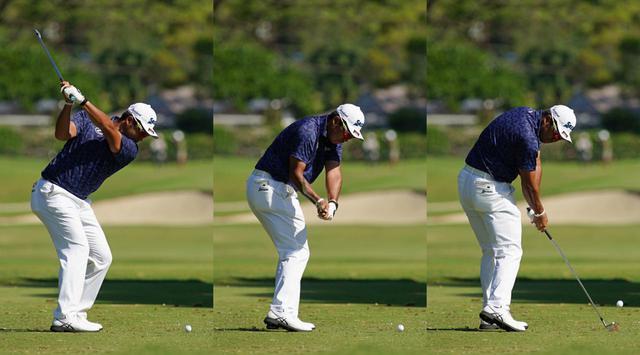 画像: トップ(左)からダウンスウィング(中)、インパクト(右)にかけて、右ひざを目標方向へ押し出すように動かすことで、前傾姿勢をキープしている(写真は2021年のソニーオープンinハワイ 撮影/増田高寛)