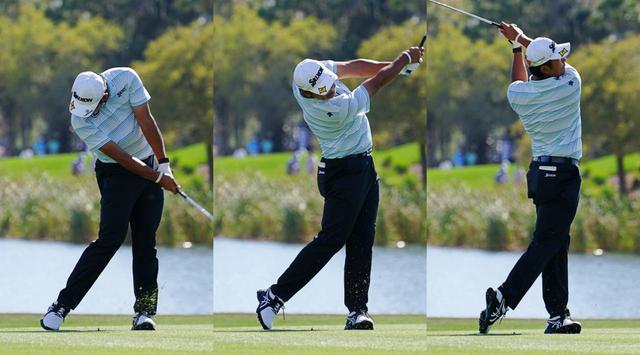 画像: フォロー(左、中)からフィニッシュ(右)を見ると、左足つま先がめくれ上がっており、松山は左足かかとに体の軸に置いて回転していることがわかる。そのことで右ひざを目標方向へ押し出すスペースが生まれている(写真は2021年のザ・プレーヤーズ選手権)